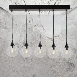 Modern 5 Light Clear Glass Pendant