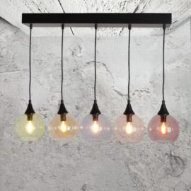 Modern 5 Light Multicoloured Glass Pendant