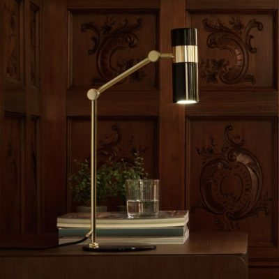 Black and Gold Modern Adjustable Spotlight Desk Lamp
