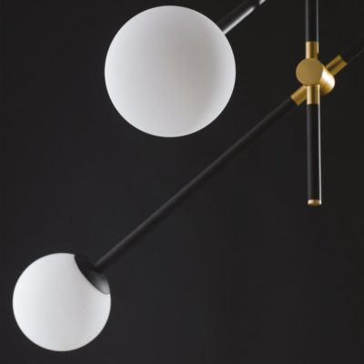 Contemporary Black Four Globe Feature Light