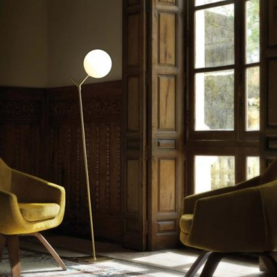 1 light modern brass floor lamp with opal glass globe