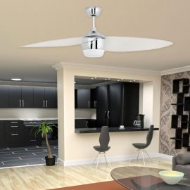 Modern Chrome Ceiling Fan With Light