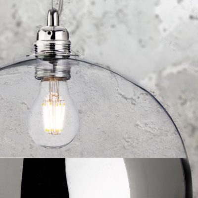 Modern Chrome Clear Glass Ball Pendant Light