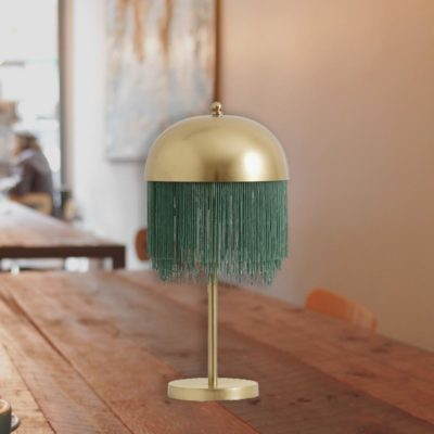 Modern Gold Fringed Table Lamp