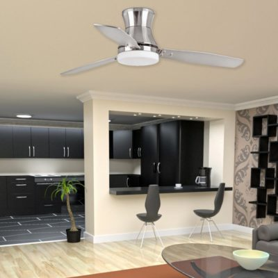 Modern Nickel Ceiling Fan With Light