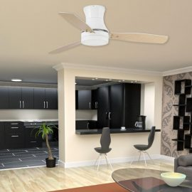 Modern White Ceiling Fan With Light