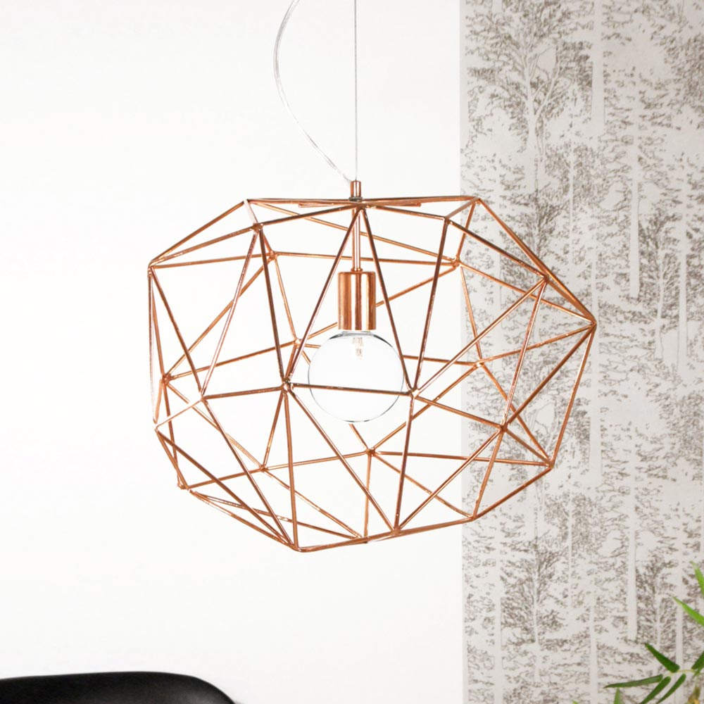 Geometric copper pendant light cl 30631 e2 contract lighting uk modern wire geometric copper pendant light greentooth Choice Image