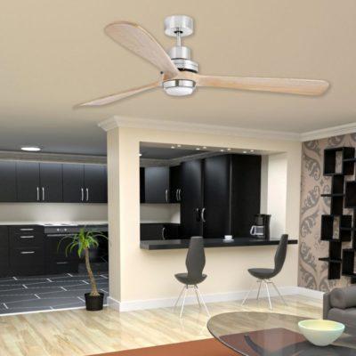 Modern Wood Ceiling Fan With Light