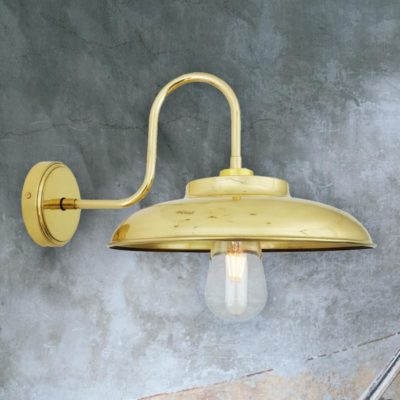 Natural Brass Outdoor Swan Neck Wall Light