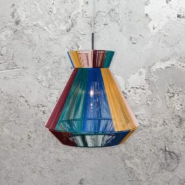 multicoloured nylon cable pendant light