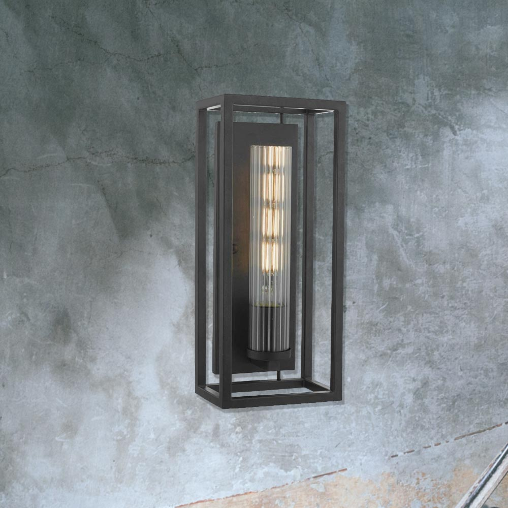 Wall Light Metal Box : Black Metal Open Box Wall Light CL-34041 E2 Contract Lighting UK
