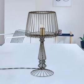 black geometric industrial open wire table lamp