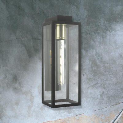 Brass Outdoor Clear Glass Box Wall Light