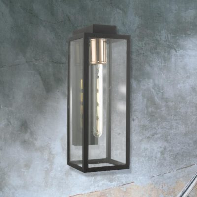 Copper Outdoor Clear Glass Box Wall Light