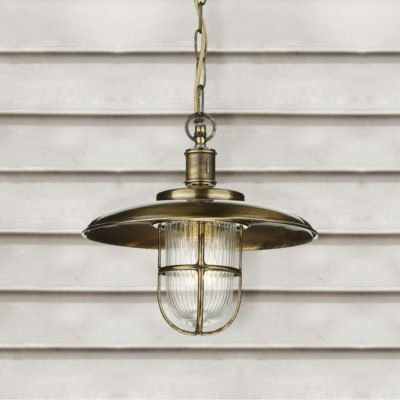 Antique Brass Outdoor Fisherman Pendant Light