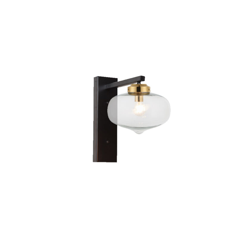 Brass Oval Glass Shade Wall Light