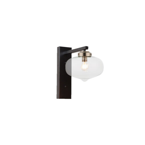 Nickel Oval Glass Shade Wall Light