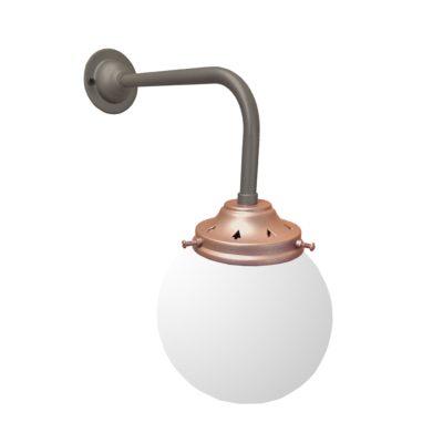 Petwer & Copper Opal Globe Wall Light