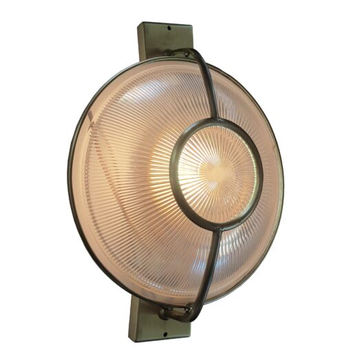 Pewter Prismatic Glass Dish Wall Light