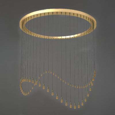 Polished Brass Cluster Ring Pendant Lights