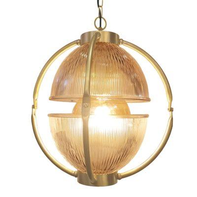 Polished Brass Glass Orb Pendant Light,Prismatic Glass Orb Pendant Light