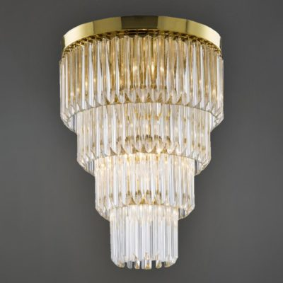 Polished Brass Round Flush Crystal Chandelier