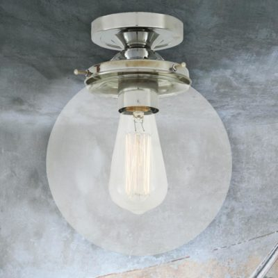 Polished Chrome Clear Globe Flush Light 200mm