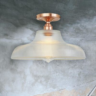 Polished Copper Ribbed Glass Dome Flush Light