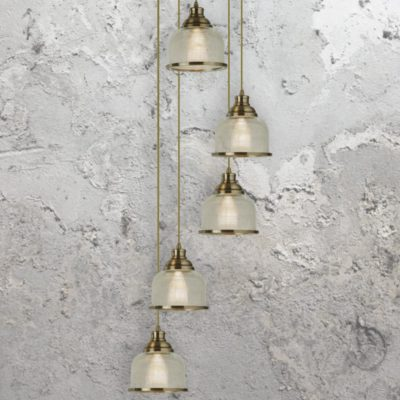 Antique Brass Prismatic Glass 5 Light Pendant
