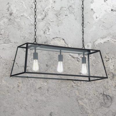 3 Light Rectangular Clear Glass Pendant Light