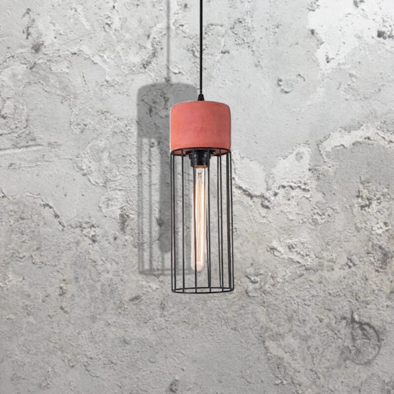 Red Concrete Caged Pendant