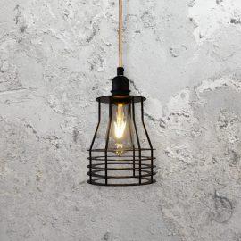 industrialstyle metal steel flat cage pendant light