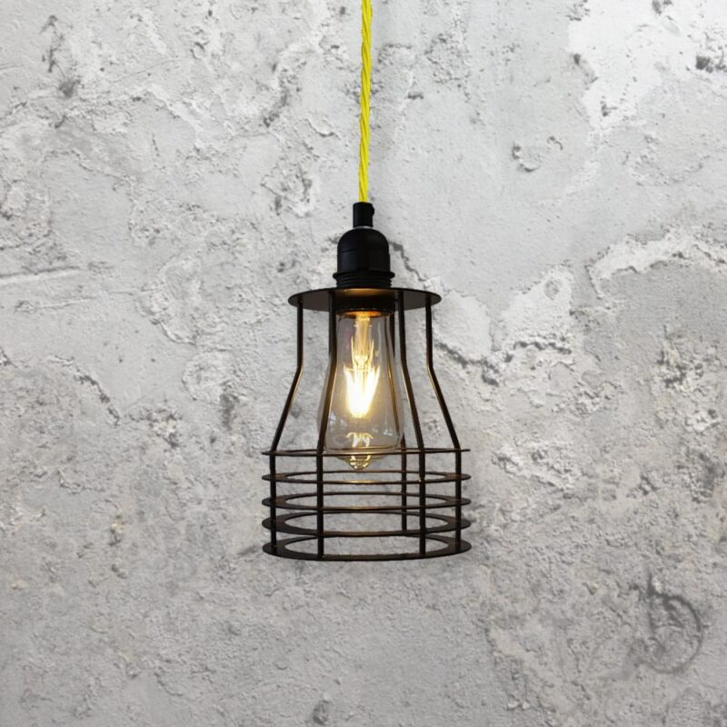 industrial style metal steel flat cage pendant light
