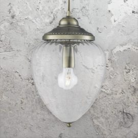 Ribbed Glass Acorn Pendant Lamp
