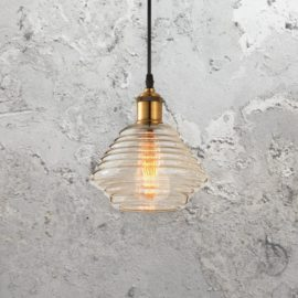 Rippled Amber Glass Pendant Light