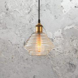 Rippled Amber Glass Pendant Light