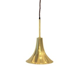 Polished Brass Rod Trumpet Pendant Light
