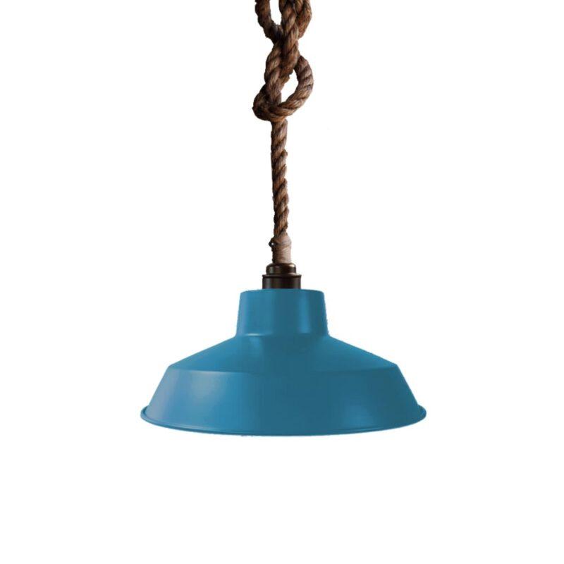 Industrial Rope Pendant Light Blue
