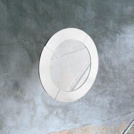 modern round bevelled wall mirror