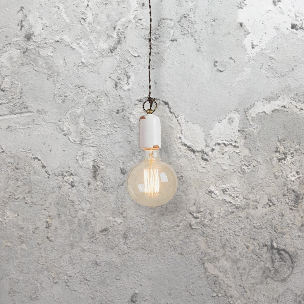 rusted white metal pendant light cl 34106 e2 contract lighting uk