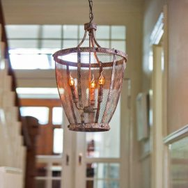 3 Light rustic mesh chandelier
