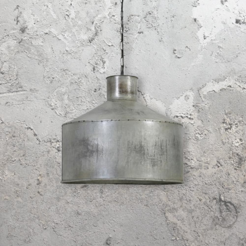 Rustic silver pendant light cl 33383 4 e2 contract lighting uk rustic silver pendant lightrustic bucket light mozeypictures Images