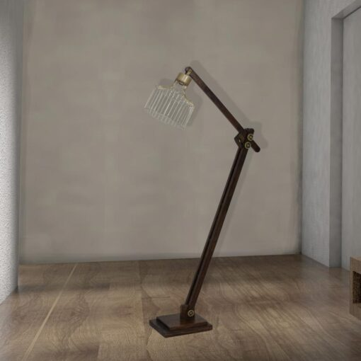 adjustable dark rustic wood floor lamp