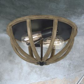Rustic Wood Flush Mount Light