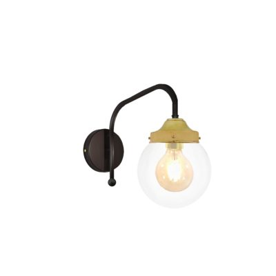 Satin Brass Clear Globe Wall Light