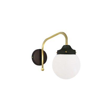 Satin Brass Opal Globe Wall Light
