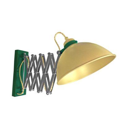 Satin Brass Scissor Arm Wall Light Green Two Tone