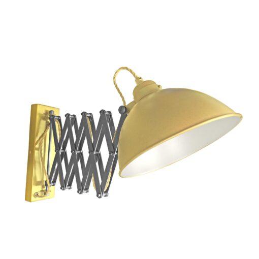 Satin Brass Scissor Arm Wall Light White Inner