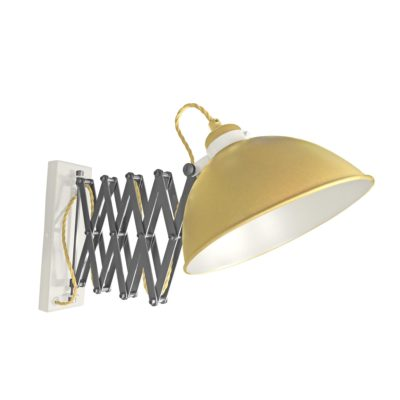 Satin Brass Scissor Arm Wall Light White Inner