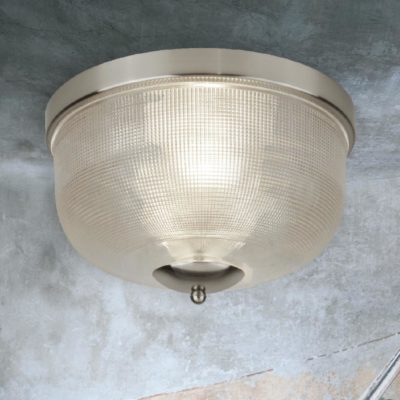 Satin Silver Holophane Glass Flush Light